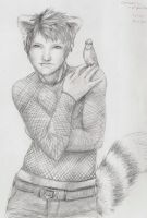 Red Panda Boy with a Blue Jay by omtay