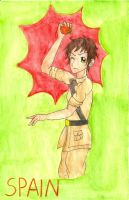 APH: Spain throwing a tomato by Demmi-chan