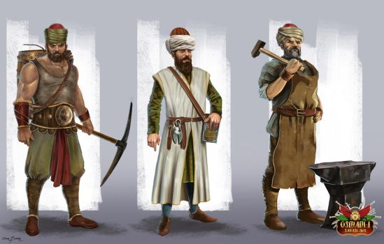 Character concepts for 'Ottoman Wars' game by bakarov