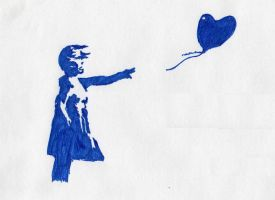 Girl with Balloon Banksy Print by exxofficio