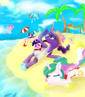 Pony Beach Time! by Rixnane