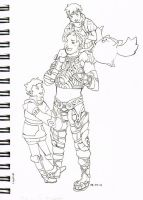 Xenoblade Scetchbook 2_ Reyn + Kids from Colony 9 by ravenoath