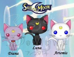 Funko Pop Fan Art: Sailor Moon- Cats by CSF-Designs