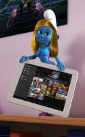 Smurfette with tablet PC by kondaspeter1