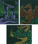 3 Dragon ACEOs by The-GoblinQueen