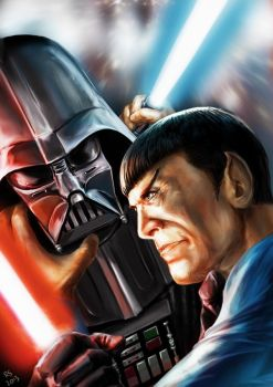 Star Wars meets Star Trek - Vader vs Spock by Robert-Shane