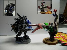 Tau Commander VS Ork Warboss by Snowfyre