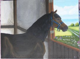 Painting of a stallion by LazyJenny