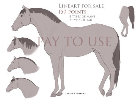 Horse Lineart for sale(points) by FerroDakora
