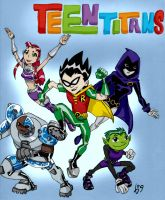 Teen Titans cover art- COLORED by Kevin11s-girl