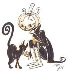 inktober 7: Pumpkin head and kitty by ktshy