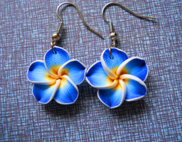 Blue Hibiscus Earrings by LypticDesigns