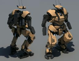 Back and front WIP power armor by Avitus12