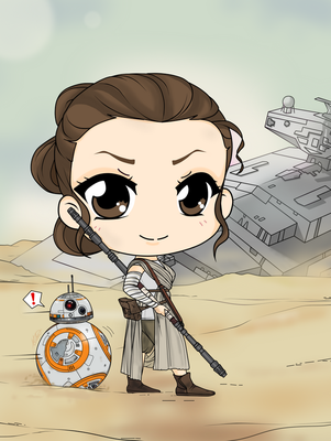 Star Wars - The Force Awakens - Rey and BB 8 by Mibu-no-ookami