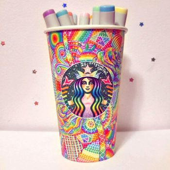 Rainbow Starbucks Cup Art by CreativeCarrah