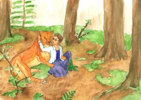 Katie and Tan -dire wolf- by mene