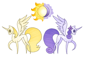 Solaris and Crescentia by LethalAuroraMage