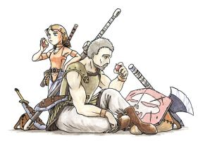 Woodelf and Barbalian in Norrath by robin01jp