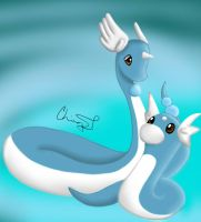Dragonair and Dratini. by LeChii