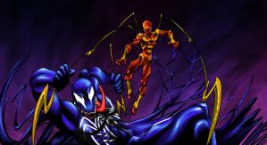 Iron Spider and Venom by aku-the-bunnyslayer