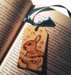 Wooden bookmark bunny by ChibiPyro
