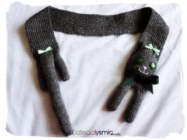 Green Eyed Grey Kitty Scarf by Cateaclysmic