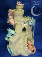 Hogwarts Dragons Sand Castle by SmilingMoonCreations