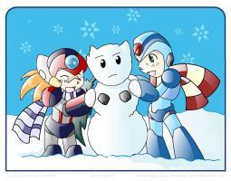 Chibis in the snow by Vanbrosia