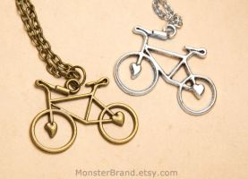 Bicycle Necklaces by foowahu-etsy