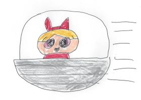 Blossom of the Powerpuff Girls in a spaceship by dth1971