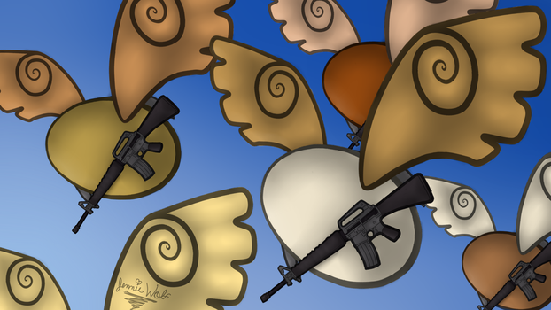 Winged Eggs with guns by Jennie-Wolf