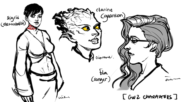 GW2 characters by Ciorane