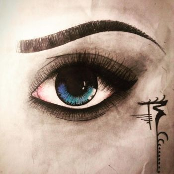 First actual work out into an eye. [left eye] by OkamiAto