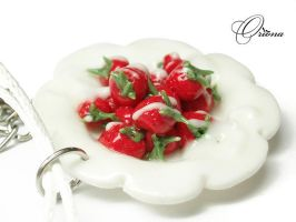 Strawberries with cream 3 by OrionaJewelry