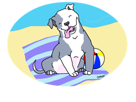 Pit Pup at the Beach by Zephammo