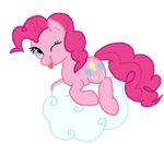 Pinkie Pie Cloud Riding (Colored) by Rainbow-Dash0