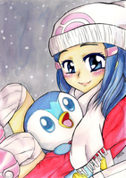 Pokemon Merry Christmas - Dawn by Nisai