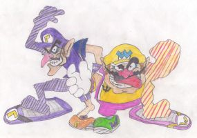 Wario and Waluigi in SR by OudieTH