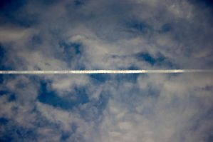 Sky with contrails - the end of life by mazarek