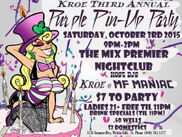 Kroe's Purple Pin-Up Party '15 Flyer by ManiacMcGee01