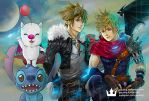 Kingdom Hearts - Sora, Roxas as Squall, Cloud by pauldng