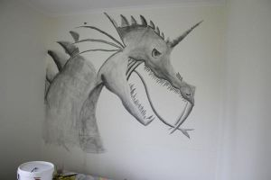 Dragon on the wall by tetep