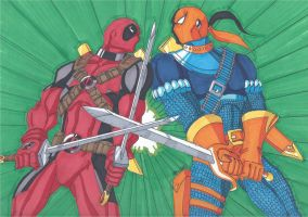 Deathstroke vs Deadpool Round 3- Swordplay by RobertMacQuarrie1