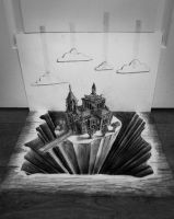 Taped Clouds Castle by JJKAirbrush