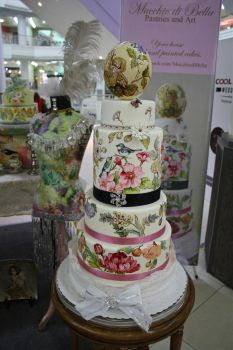 Hand Painted Wedding Cake and Ostrich Egg Topper by alcat2021