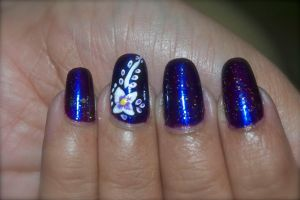 White Flower on Purple Nails by Gorgeousnails