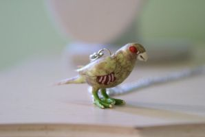Zombie Parrot Necklace by foowahu-etsy