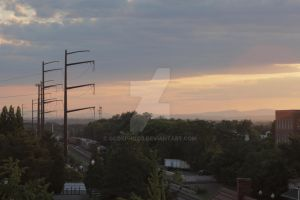 Rail, Trees, and Town by gcdxphoto