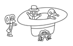 Relativity Chibis in a Hat Lineart by MikariStar