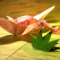 origami crane by Raindroppu